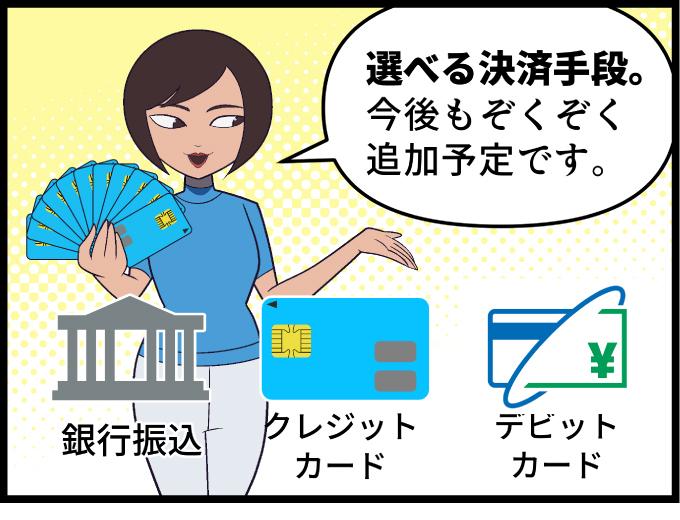 ぷらすWiFi | 選べる決済手段。今後もぞくぞく追加予定です。銀行振込。クレジットカード。デビットカード。